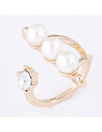 Sweet Gold Color Pearl Decorated Open Design  Alloy Korean Rings