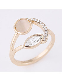 Sweet Gold Color Diamond Decorated Geometrical Shape Design  Alloy Korean Rings
