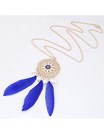 Personality Sapphire Blue Round Shape Decorated Feather Pendant Design Alloy Chains