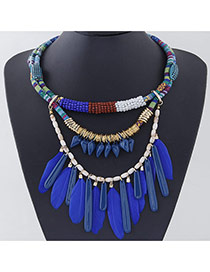 Personality Sapphire Blue Feather Pendant Decorated Multilayer Design Alloy Crystal Bib Necklaces