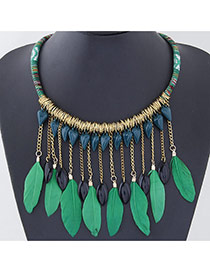 Personality Green Feather Pendant Decorated Tassel Design Feather Bib Necklaces
