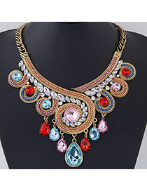 Exaggerate Multi-color Diamond Decorated Geometrical Shape Design