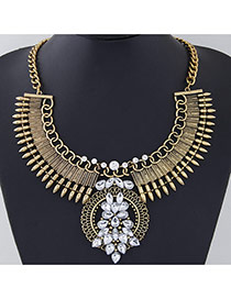 Exaggerate Gold Color Rivet&diamond Decorated Collar Design