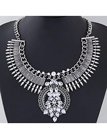 Exaggerate Silver Color Rivet&diamond Decorated Collar Design