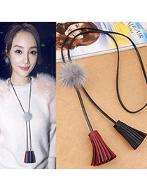 Fashion Gray Fuzzy Ball Decorated Double Tassel Pendant Design Leather Bib Necklaces