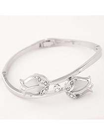 Sweet Silver Color+white Double Tulip Shape Decorated Simple Design  Alloy Fashion Bangles