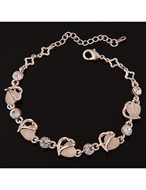 Sweet Gold Color Heart To Heart Shape Decorated Simple Design  Alloy Korean Fashion Bracelet