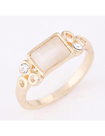 Personality Gold Color Rectangle Shape Gemstone Decorated Simple Design  Alloy Korean Rings
