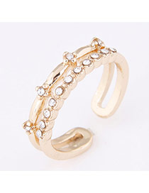Personality Gold Color Diamond Decorated Opening Design  Alloy Korean Rings