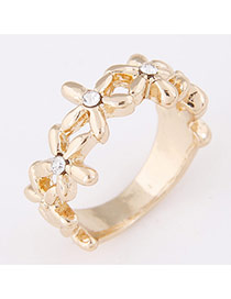 Personality Gold Color Flower Shape Decorated Simple Design  Alloy Korean Rings