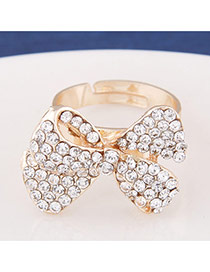 Exquisite Gold Color Diamond Bowknot Shape Decorated Simple Design  Alloy Korean Rings