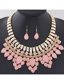 Fashion Pink Water Drop Gemstone Decorated Multilayer Design Alloy