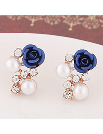 Sweet Dark Blue Diamond&rose Flower Decorated Simple Design  Alloy Stud Earrings
