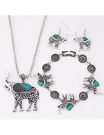 Cute Green Elephant Pendant Decorated Simple Design Alloy Jewelry Sets