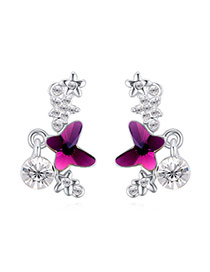Exquisite Purple Butterfly Shape Decorated Simple Design  Alloy Crystal Earrings