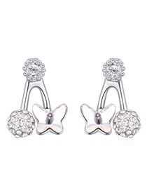 Exquisite White Diamond&butterfly Shape Decorated Simple Design Alloy Crystal Earrings