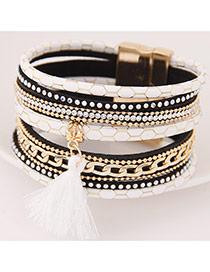 Temperamental Black+white Tassel Pendant Decorated Multilayer Design Alloy Korean Fashion Bracelet