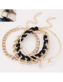 Temperamental Gold Color+black Pearl&rope Weave Decorated Multilayer Design  Alloy Korean Fashion Bracelet