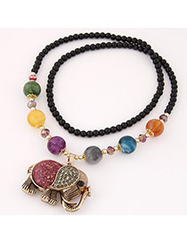 Lovely Multicolor Elephant Pendant&beads Decorated Simple Design