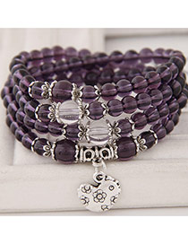 Pretty Purple Chicken Pendant&beads Decorated Multilayer Design  Alloy Korean Fashion Bracelet