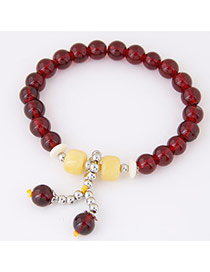 Fashion Claret-red Beads Decorated Simple Design  Alloy Korean Fashion Bracelet