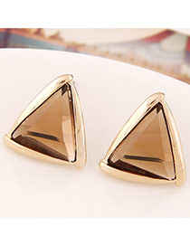 Fashion Champagne Gemstone Decorated Triangle Shape Design  Alloy Stud Earrings