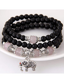 Fashion Black Elephant Pendant Decorated Multilayer Design  Alloy Korean Fashion Bracelet