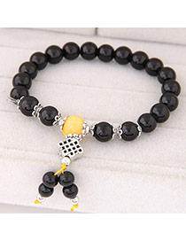 Sweet Black Beads Decorated Simple Design  Rosin Korean Fashion Bracelet