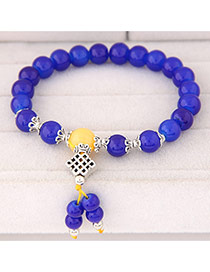 Sweet Sapphire Blue Beads Decorated Simple Design  Rosin Korean Fashion Bracelet