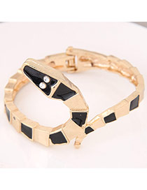 Trendy Black Snake Shape Decorated Simple Design  Alloy Fashion Bangles
