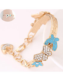 Trendy White Butterfly Shape Decorated Simple Design  Alloy Fashion Bangles