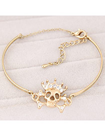 Trendy Gold Color Skull Decorated Hollow Out Design  Alloy Fashion Bangles