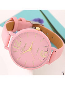 Trendy Pink Candy Color Round Case Design  Alloy Ladies Watches