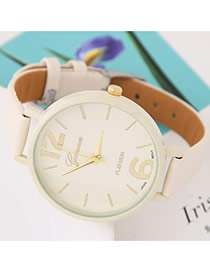 Trendy Beige Candy Color Round Case Design Alloy Ladies Watches