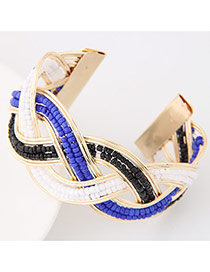 Bohemia Blue Beads Decorated Weave Opening Design Alloy Fashion Bangles