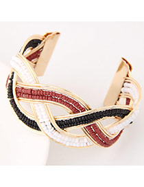 Bohemia Dark Red Beads Decorated Weave Opening Design Alloy Fashion Bangles