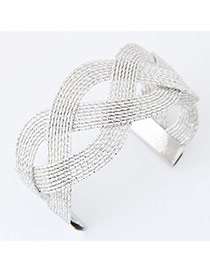 Fashion Silver Color Pure Color Weave Opening Design