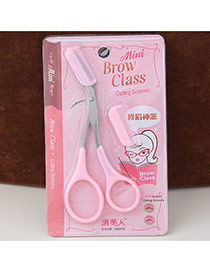 Fashion Pink Candy Color Simple Design With Comb Eyebrow Scissors