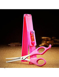 Fashion Plum Red Pure Color Simple Design With Ruler Bangs Barber Scissors  Plastic Beauty tools