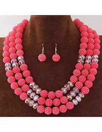 Fashion Watermelon Red Beads Decorated Multilayer Design Alloy Jewelry Sets