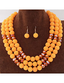 Fashion Orange Beads Decorated Multilayer Design Alloy Jewelry Sets