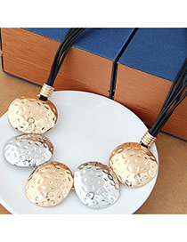Fashion Silver+gold Color Oval Shape Decorated Multilayer Design