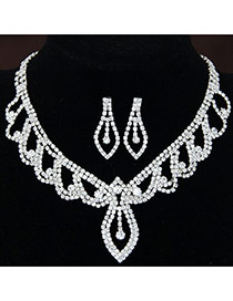 Fashion White Diamond Decorated Leaf Shape Hollow Out Design Alloy Jewelry Sets