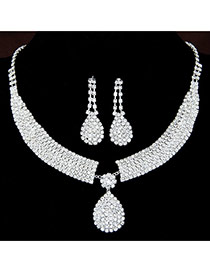 Fashion White Water Drop Pendant Decorated Simple Design Alloy Jewelry Sets