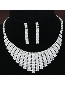 Fashion White Diamond Decorated Rectangle Shape Hollow Out Design Alloy Jewelry Sets