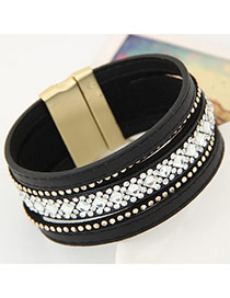 Temperament Black Diamond Decorated Multilayer Design Alloy Korean Fashion Bracelet