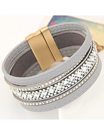 Temperament Gray Diamond Decorated Multilayer Design Alloy Korean Fashion Bracelet