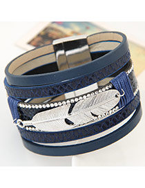 Fashion Blue Feather Shape Decorated Multilayer Design  Alloy Korean Fashion Bracelet