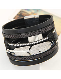 Fashion Black Feather Shape Decorated Multilayer Design  Alloy Korean Fashion Bracelet