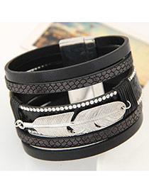 Fashion Black Feather Shape Decorated Multilayer Design  Alloy Korean Fashion Bracelet